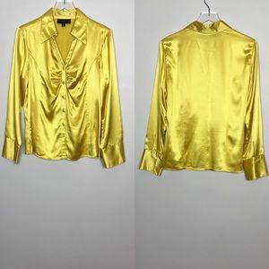 Classiques Entier Atelier Gold Silk Blouse Size L